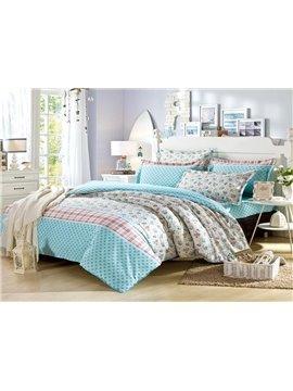 100% Cotton Beautiful Blue Flower Print 4-Piece Bedding Sets
