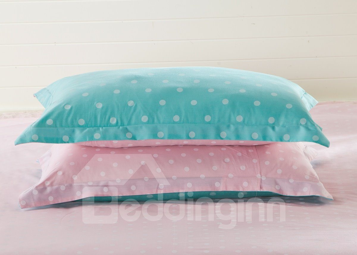Little Pure White Polka Dot with Green Background 4-Piece Bedding Sets