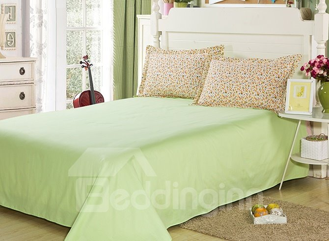 Unique Tiny Flower Pattern with Green Background 4-Piece Cotton Duvet Cover Sets