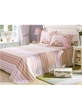 Blooming Pink Flower Pattern 4-Piece Bedding Sets