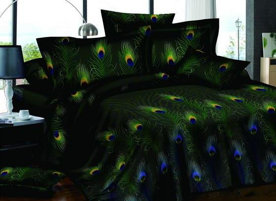 Luxurious Deluxe Pastoral Peacock Feathers Black One Pair Pillowcases