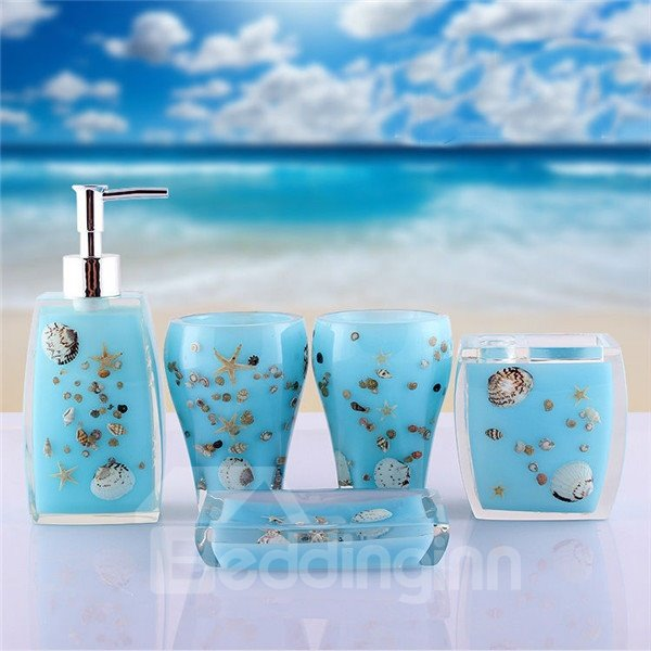 Fancy creative sea world pattern 5 piece bathroom for Sea bath accessories