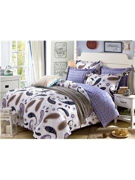 Excellent Designed Unique Purple Floral Pattern 4-Piece Bedding Sets