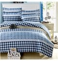 Elegant Blue Checkered Squares with Stars Pattern 4-Piece Bedding Sets