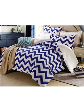 Bright Navy and White Folding Line Stripe 4-Piece Bedding Sets