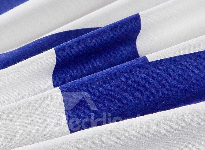 Bright Navy and White Folding Line Stripe 4-Piece Bedding Sets