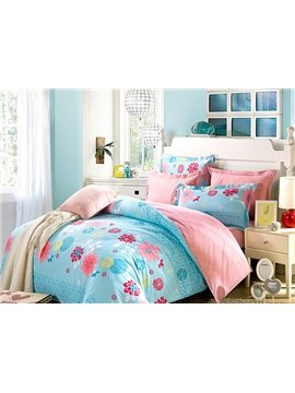 Blooming Flowers with Romantic Blue background 100% Cotton 4-Piece Bedding Sets
