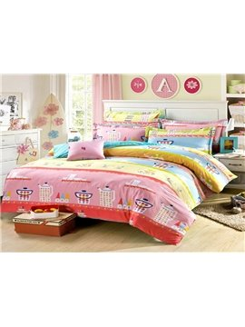 Fresh Cartoon Image 4-Piece Cotton Bedding Sets
