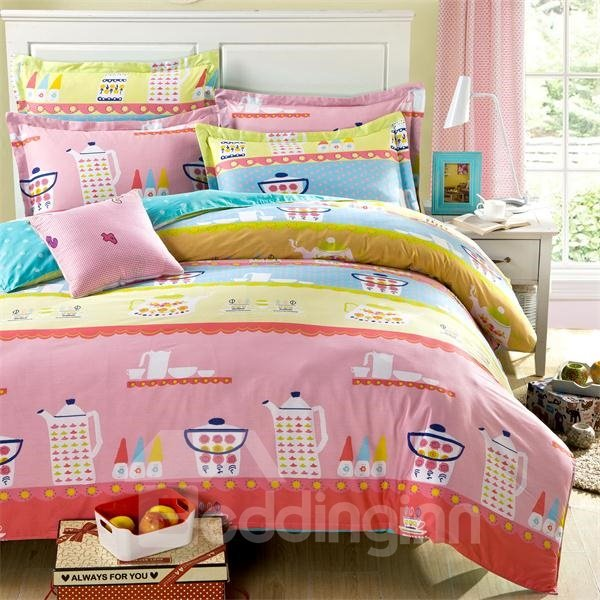 Fresh Cartoon Image 4-Piece Cotton Bedding Sets