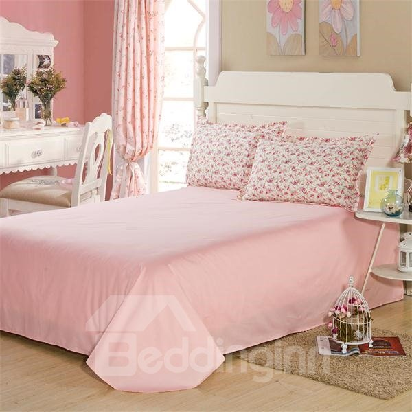 Lovely Pink Ground with Blooming Flowers Print 4-Piece Bedding Sets