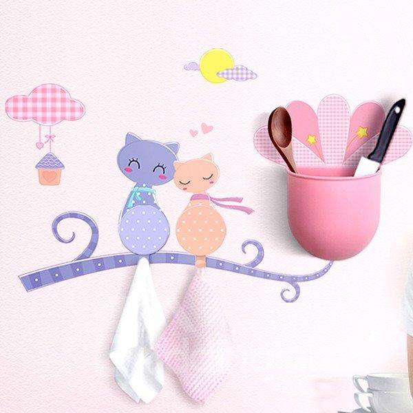Creative Very Beautiful Cat Image Bathroom Hooks