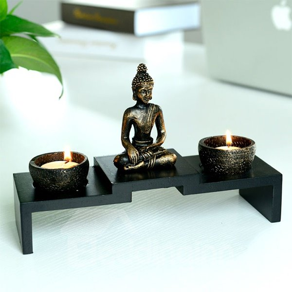 Meditating Oriental Table Art Decor Sacred Buddha Statue Two-Piece Candle Holder