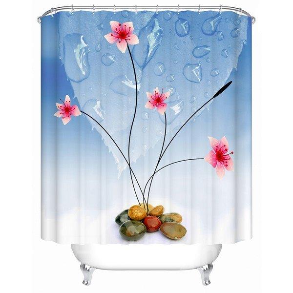 Unique Graceful Flower Stone Extra Long Shower Curtain