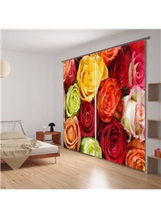 3D Colorful Roses Thermal Insulated Curtain