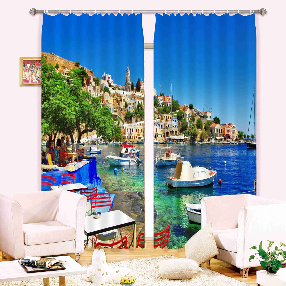 Seaside Scenery 3D Light Blocking&Energy Saving Curtain