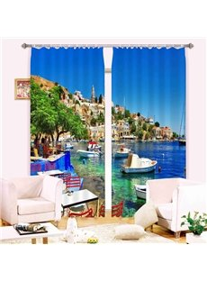 Seaside Scenery 3D Light Blocking&Energy Saving Curtain