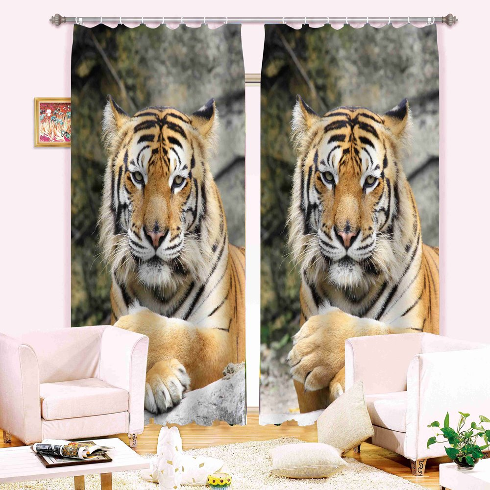 Realistic Symmetrical Tiger Printing 3D Curtain