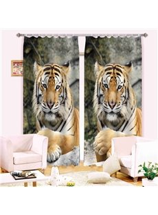 Realistic Symmetrical Tiger Printing 3D Curtain
