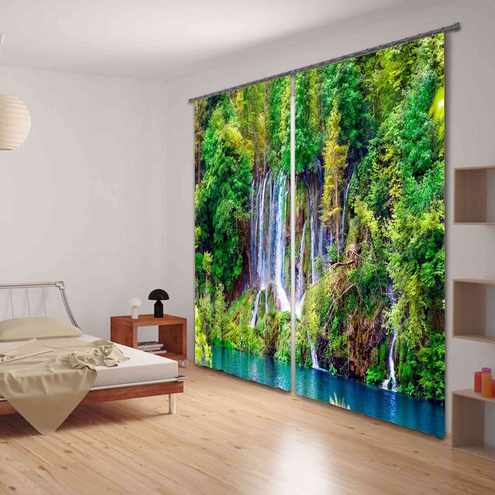 Beautiful Forest Stream Functional 3D Energy Saving Curtain