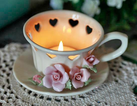 Fantastic Original Top Quality Flower and Heart Design Cup Shape Candle Holder 11394510