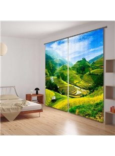 3D Terraced Fields Light Blocking&Energy Saving Curtain