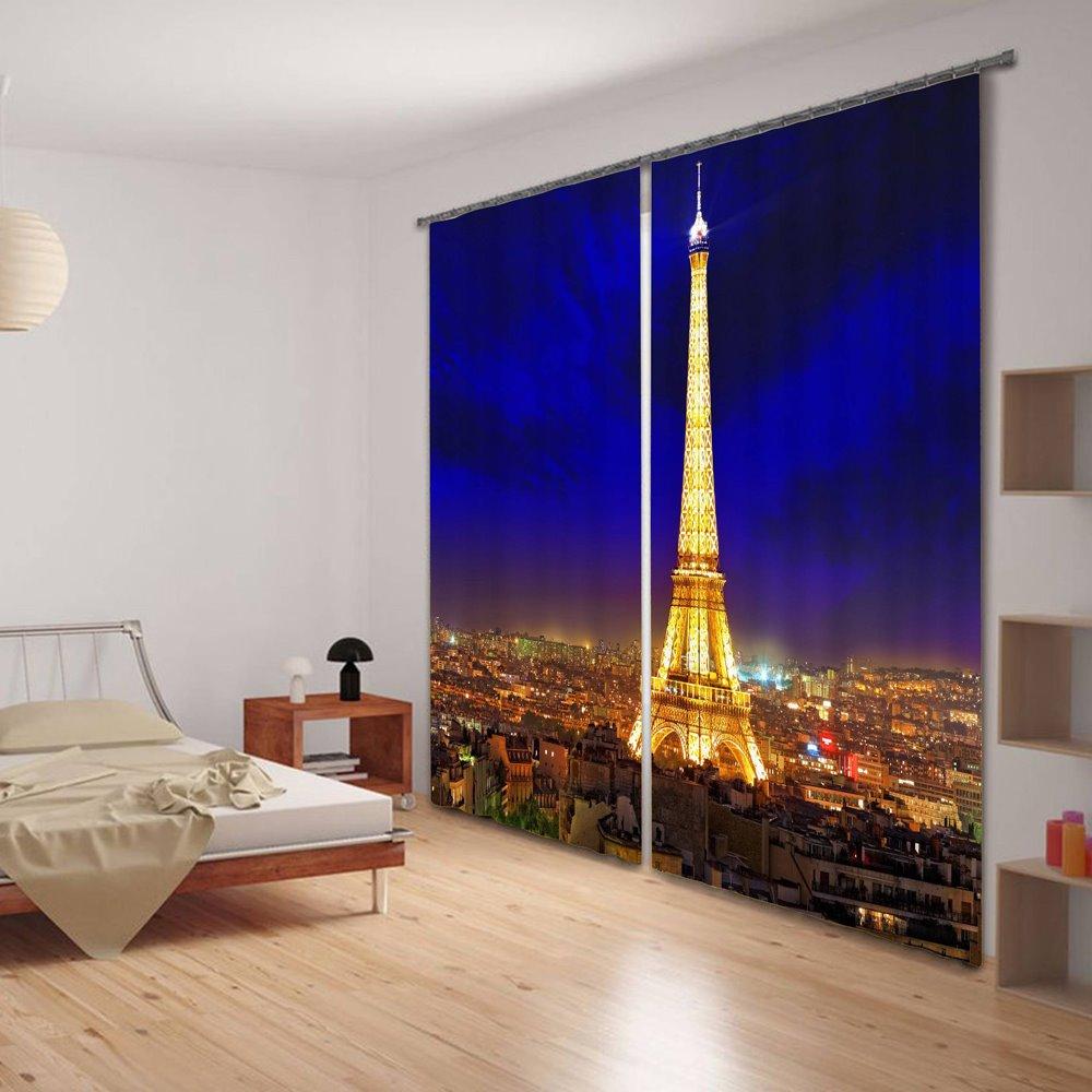 Eiffel Tower at Night 3D Printing Energy Saving Curtain