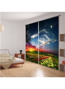 Sea of Flowers Scenery Printing 3D Curtain