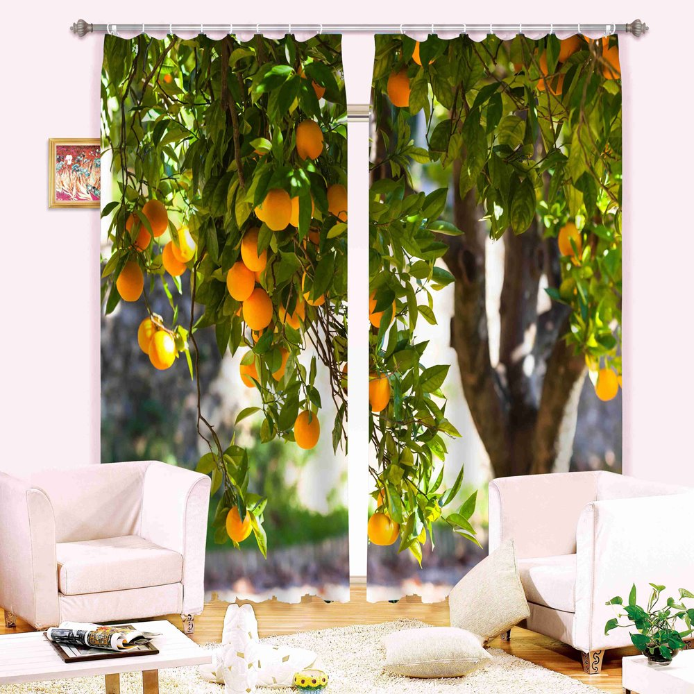 Apricot Tree 3D Digital Printing Blackout Curtain