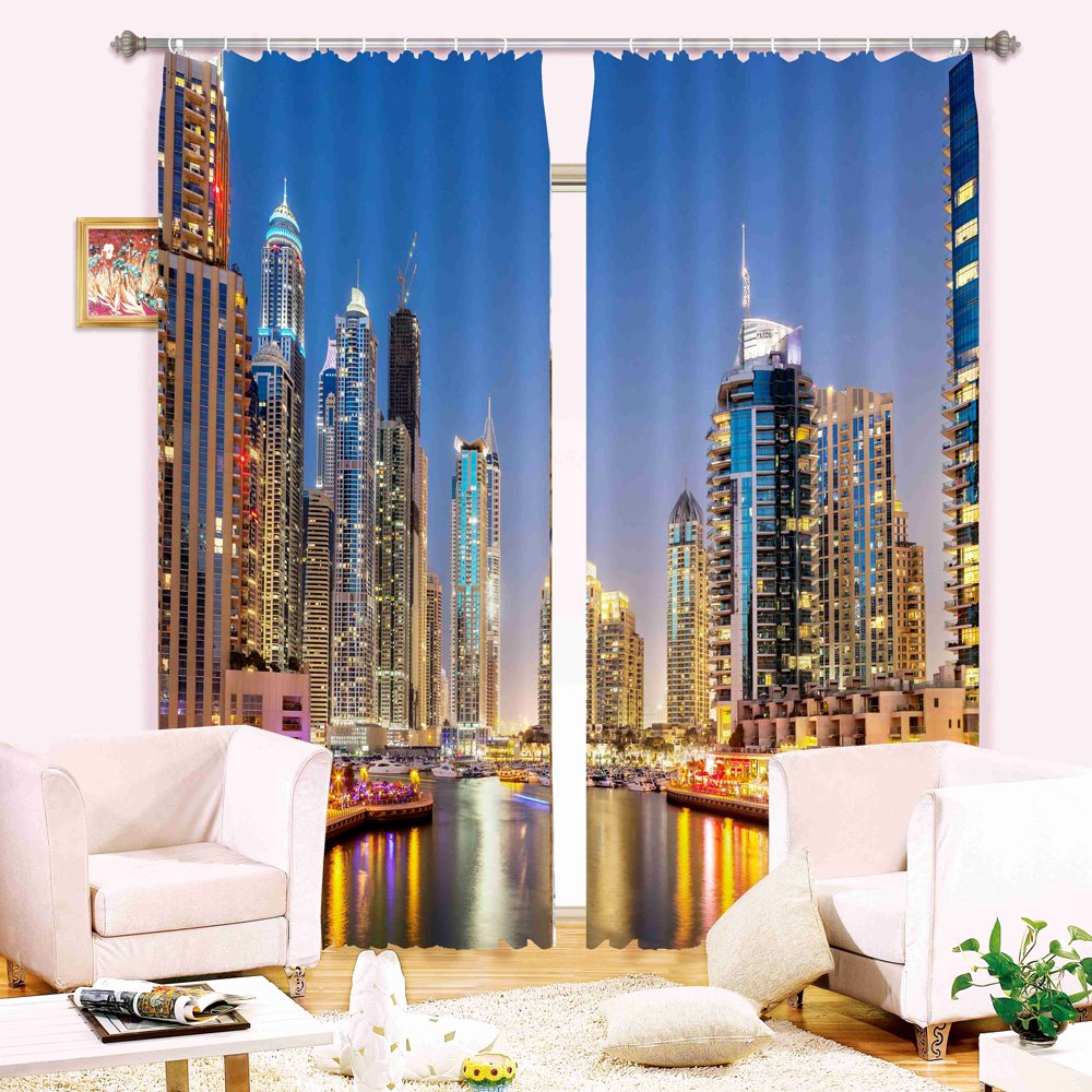 City night skyscrapers 3d digital printing blackout Blackout curtains city skyline