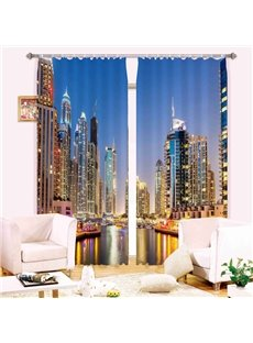 City Night Skyscrapers 3D Digital Printing Blackout Curtain