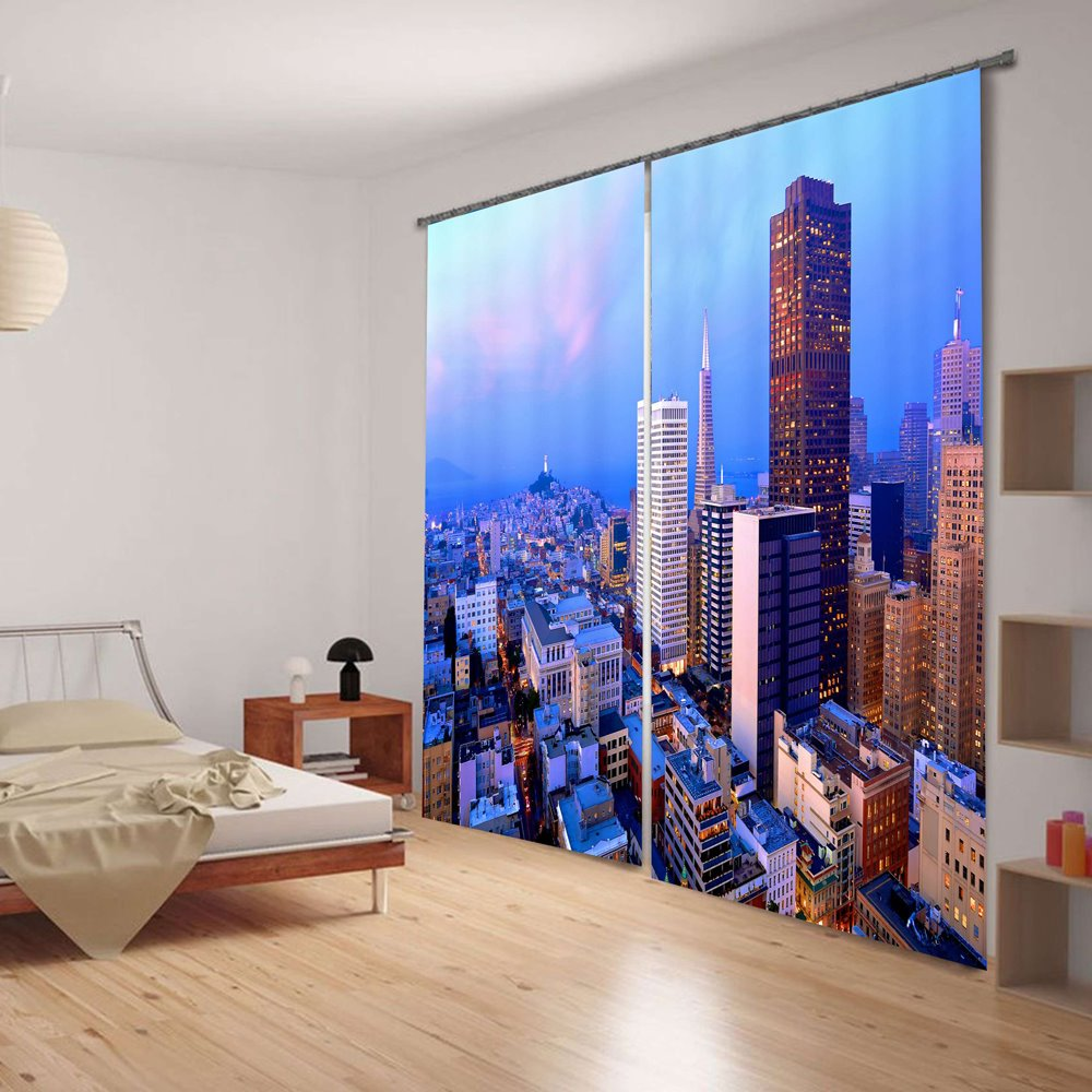 Beautiful Morning Urban Scenery Blackout 3D Curtain