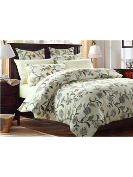 Graceful Fresh Vine Flower Print 4-Piece Cotton Duvet Cover Sets