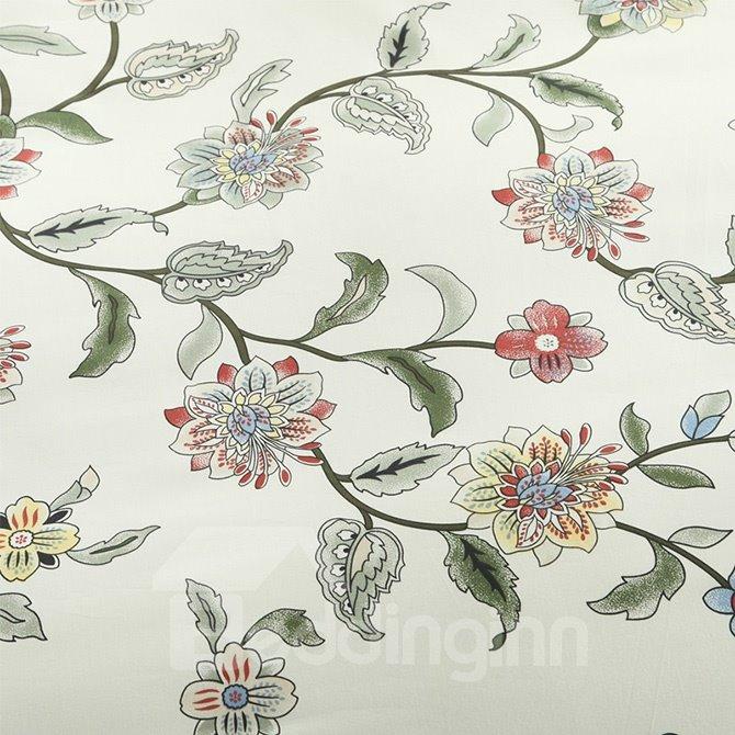 Graceful Fresh Vine Flower Print 4-Piece Cotton Duvet Cover Sets