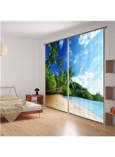 Refreshing Summer Beach Scenery 3D Curtain