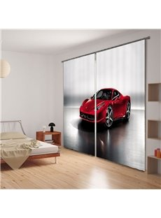 Red Fashion Sports Car Printing Polyester 3D Curtain