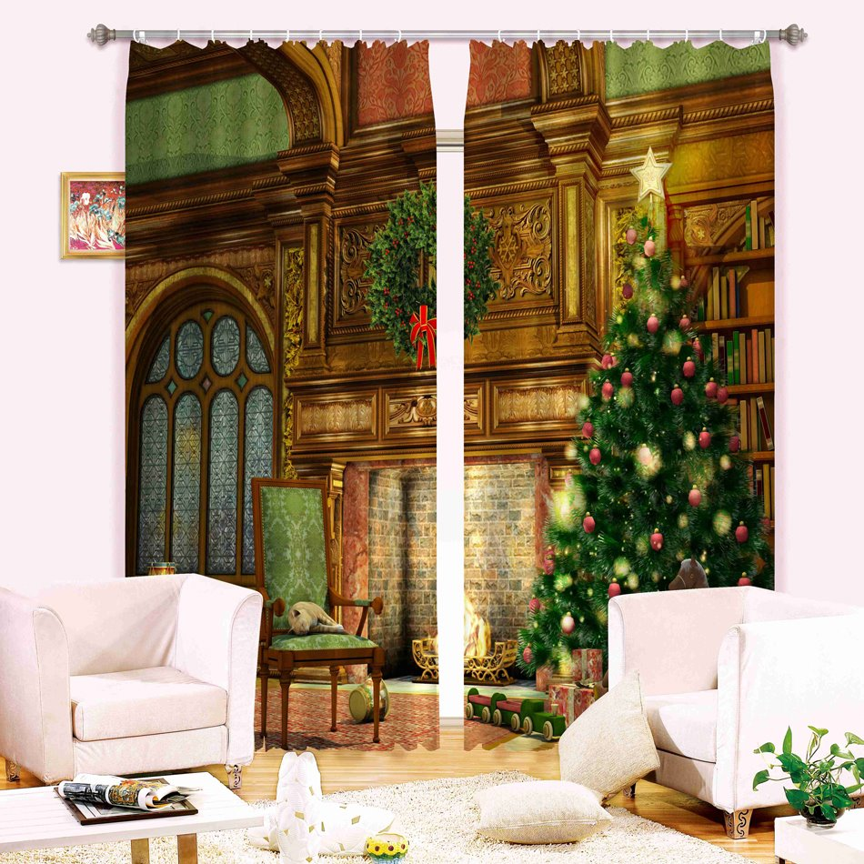 Christmas Theme Decor Tree Printing 3D Polyester Curtain ...
