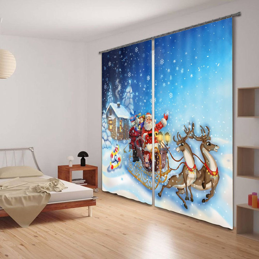 Santa Claus Printing Christmas Theme Polyester 3D Curtain