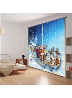 Santa Claus Printing Christmas Theme Polyester 3D Curtain