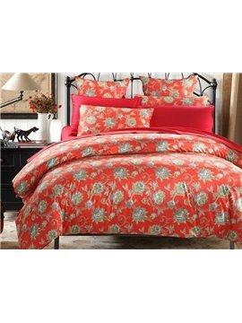 Jubilant Jacquard Red 100% Cotton 4-Piece Duvet Cover Sets