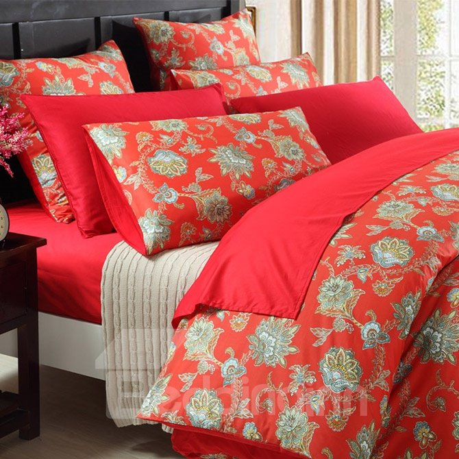 Jubilant Jacquard Red 100% Cotton 4-Piece Duvet Cover Sets