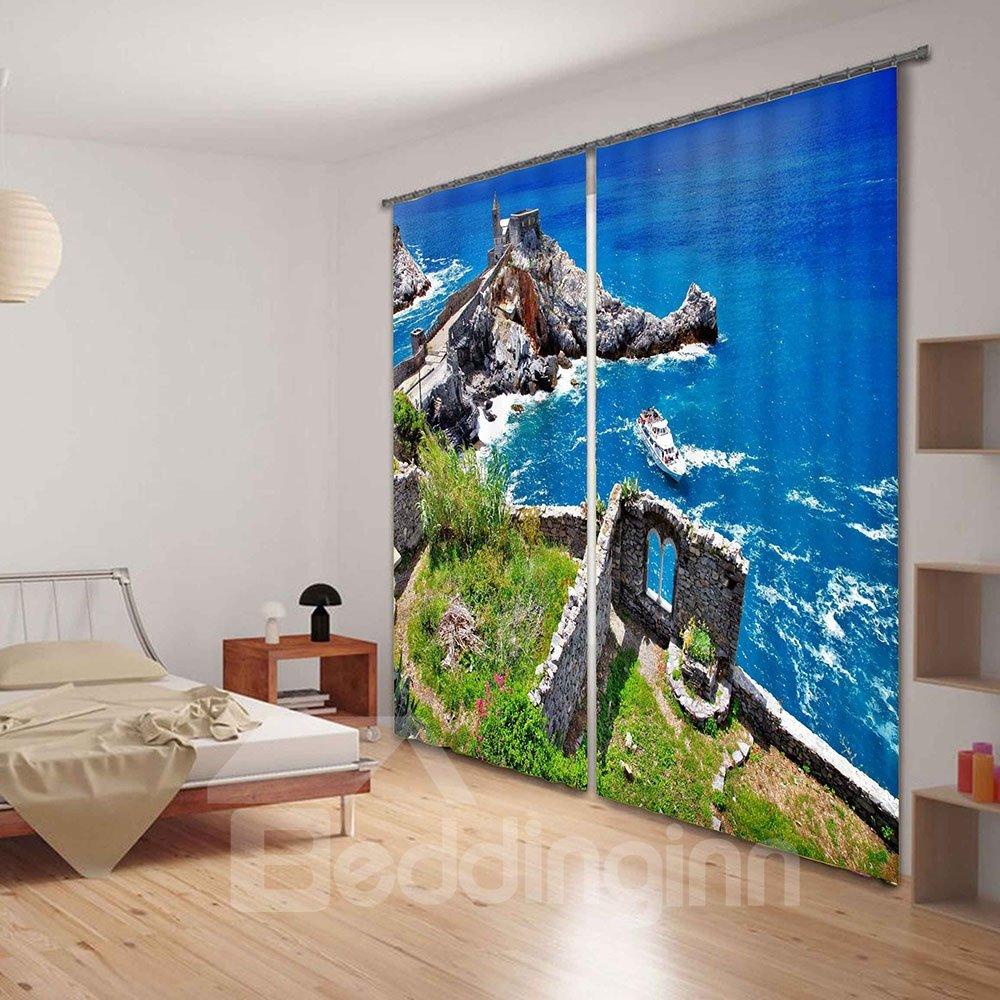 Blue Sea Print Polyester 3D Blackout Curtain
