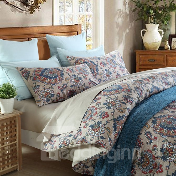 Noble Jacquard Vintage Style Cotton 4-Piece Duvet Cover Sets