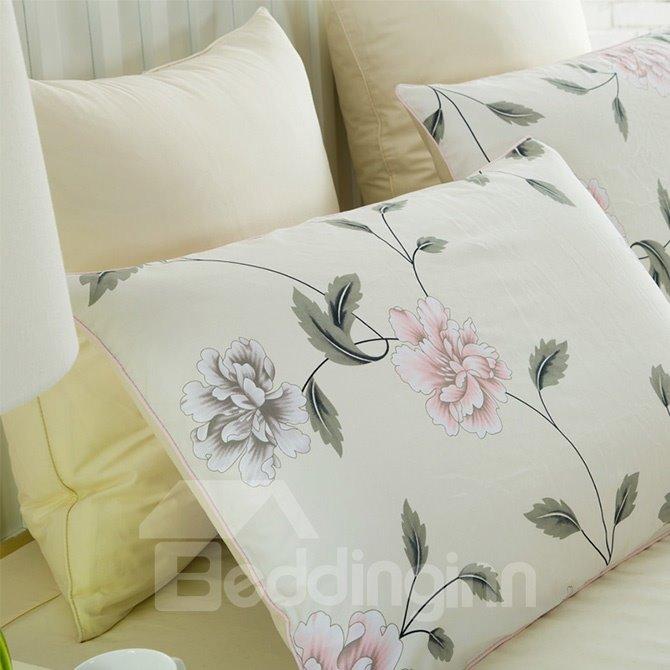 Elegant Rosa Multiflora Vine Beige 4-Piece Duvet Cover Sets