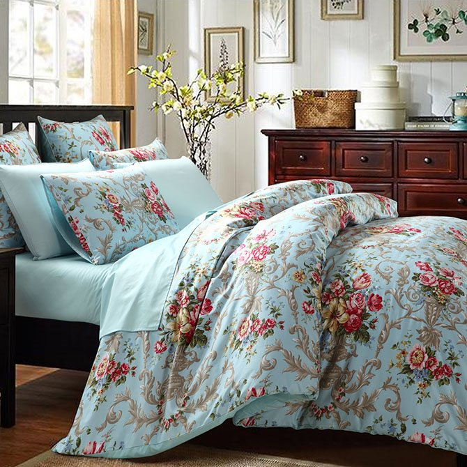 Deluxe Graceful Floral Cotton Blue 4-Piece Duvet Cover Sets