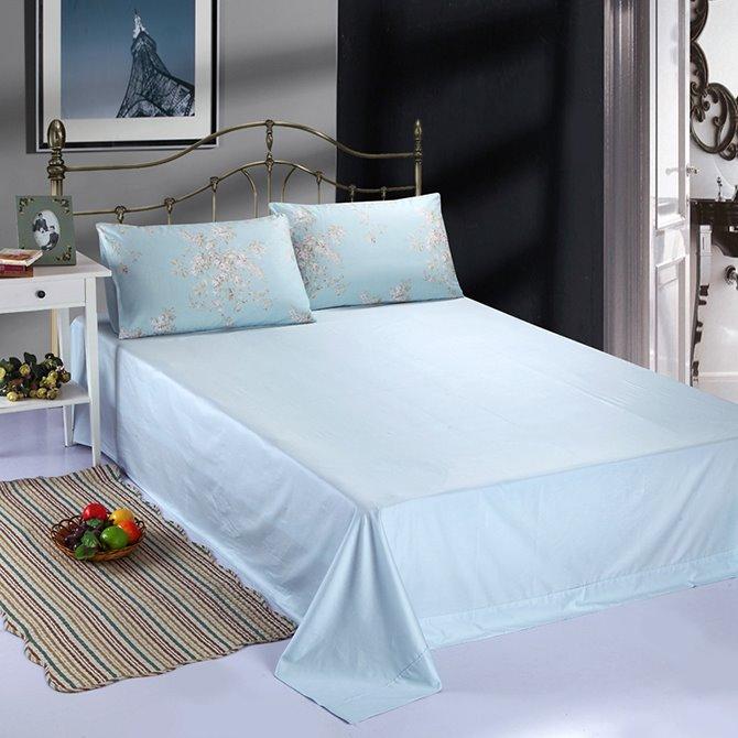 Pastel Blue Elegant Lilac Print 4-Piece Duvet Cover Sets
