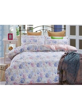 Pink Blue Rose Print Graceful 4-Piece Cotton Duvet Cover Sets