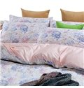 Pink Blue Rose Print Graceful 4-Piece Cotton Duvet Cover Sets