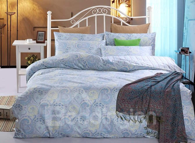 Ethnic Style Phoenix Tail Blue 4-Piece Cotton Duvet Cover Sets