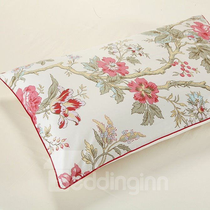 Cozy Magnificent Begonia Print 4-Piece Duvet Cover Sets