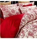 Red Jacquard Comfy Cotton 4-Piece Duvet Cover Sets